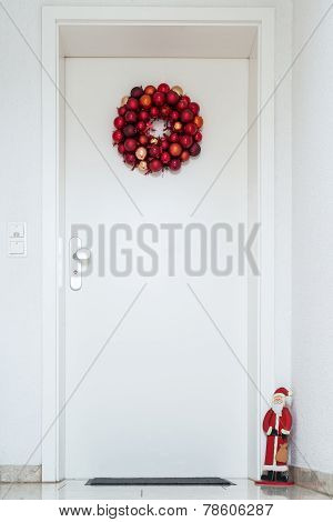 Christmas wreath on entrance door
