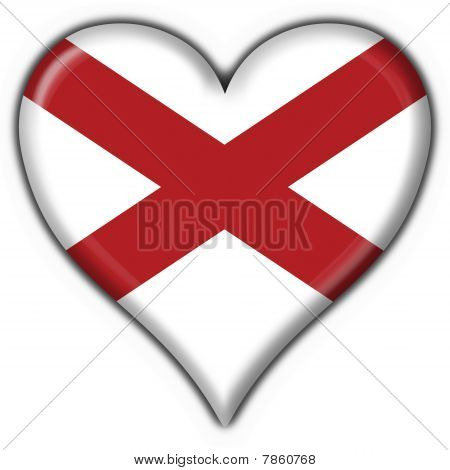 Alabama (usa State) Button Flag Heart Shape