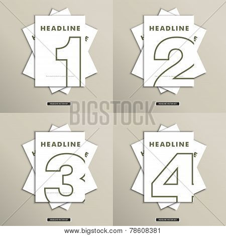 Vector set of brochures with numbers on the cover