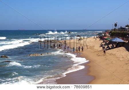 Many Unknown People On Umdloti Beach Near Durban