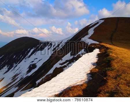 Carpathian mountains 11 under snow in spring