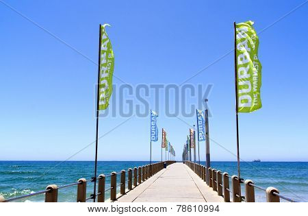 Promotional Banners On Empty Pier On North Beach