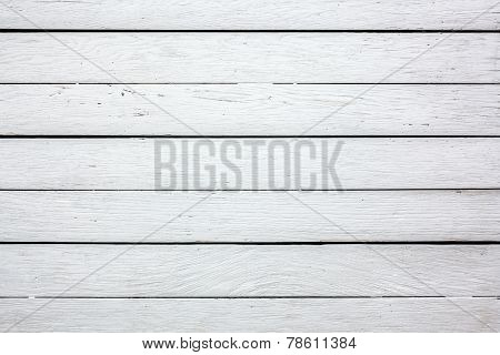 Top view of white wood background. Wooden table or floor. Old with some scratches.