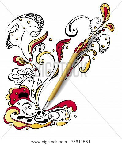 Gold Draw pen with doodle on white