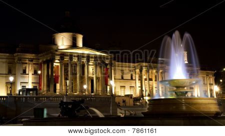Illuminated National Gallery At Night