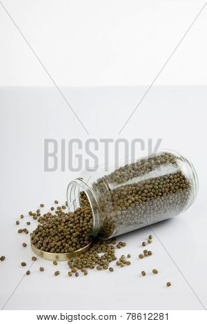 Mung Beans In A Jar On White  Table With Lid Off