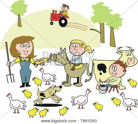 Family farm cartoon
