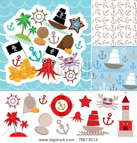Vintage scrap nautical card and seamless pattern with sea animals, boats pirates. cute sea objects c