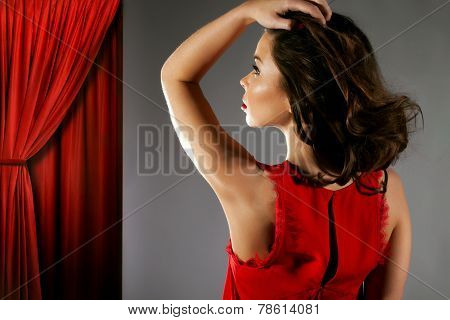 Beauty Portrait Of Brunette Woman.