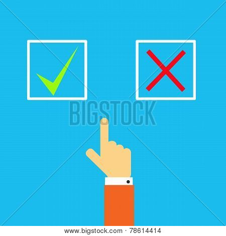 Man's Hand Before Choosing Yes Or No.