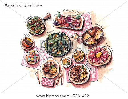 French Food Illustration