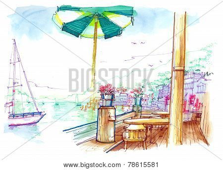 Sausalito Pier Beautiful Illustration, San Francisco, Usa
