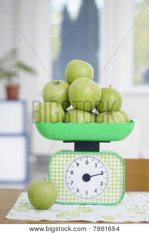 Green Apples On Kitchen Scale Food Fruit