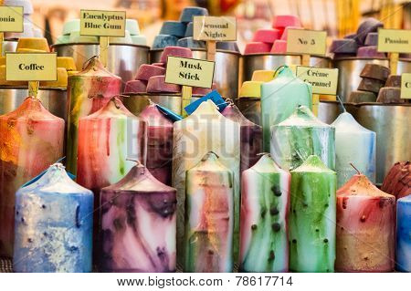 Colorful scented candles