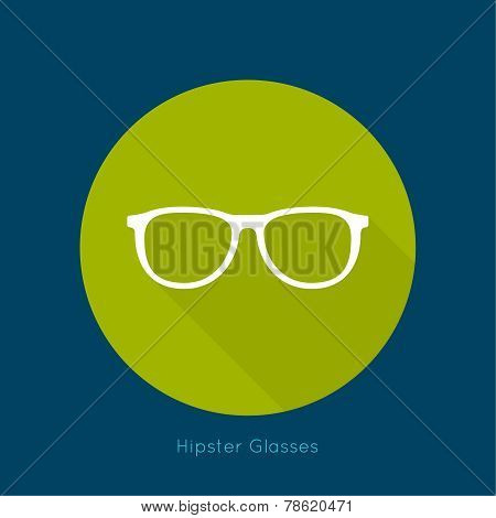Geek glasses icon with long shadows.
