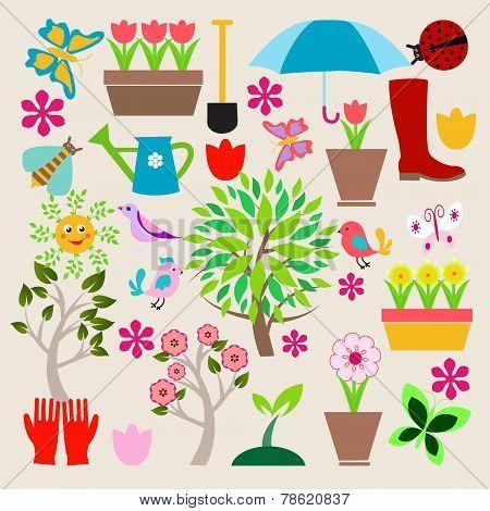 Icons Set Elements Gardening