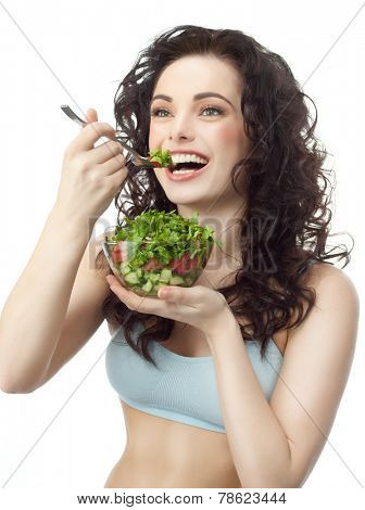 portrait of attractive  caucasian smiling woman isolated on white studio shot eating salat