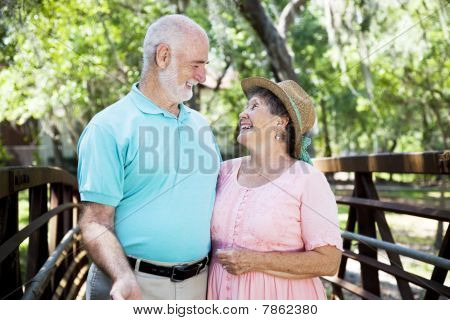 Flirty Senior Couple Outdoors