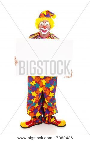 Clown Holds Sign - Full Body