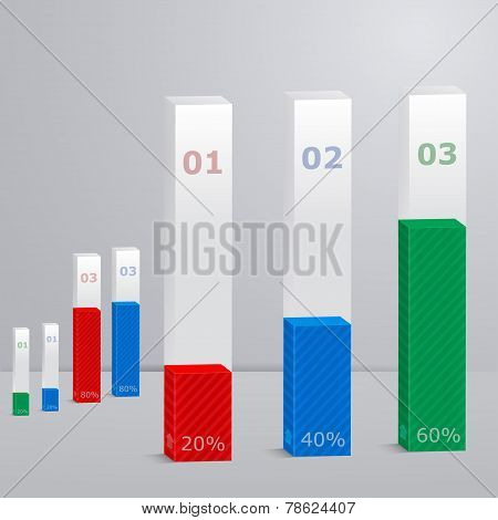 Modern Template With 3D Columns. Suitable For Infographics, Pres