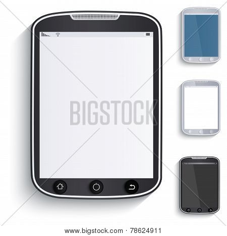 Set Of Tablets, Touchscreen Phones. Paper Style