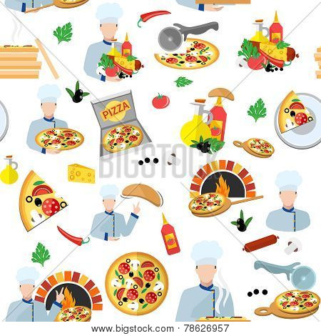 Pizza Maker Seamless Pattern