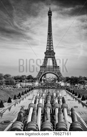 Tour Eiffel Tower In Paris Summer Day