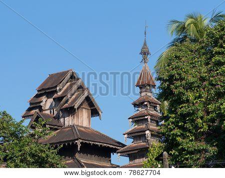 Old, Wooden Temple In Yangon, Myanmar