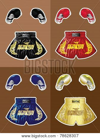 Boxing gloves and thai boxer shorts set