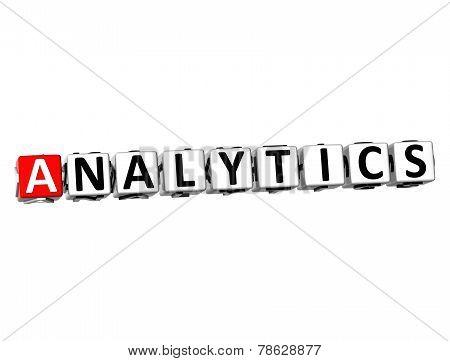 3D Word Analytics On White Background