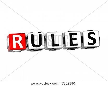 3D Word Rules On White Background