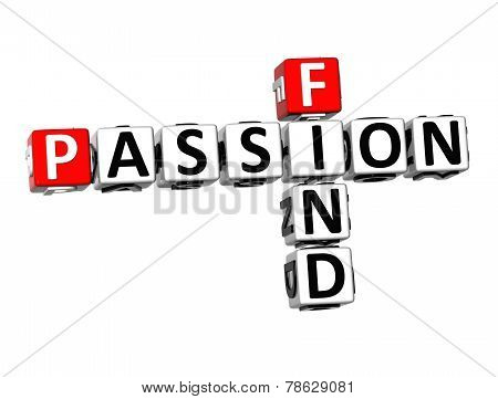 3D Crossword Finf Passion On White Background