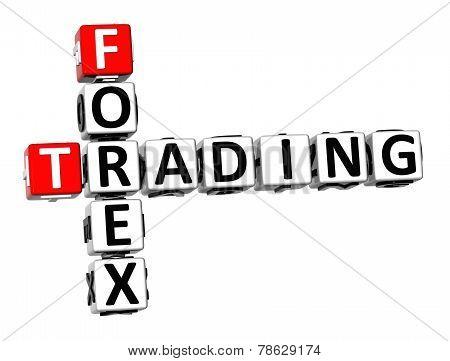 3D Crossword Forex Trading On White Background