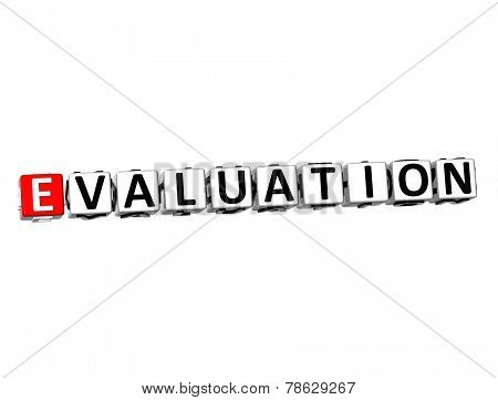 3D Word Evaluation On White Background