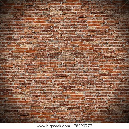 round circle spotlight on red brick wall for texture, background