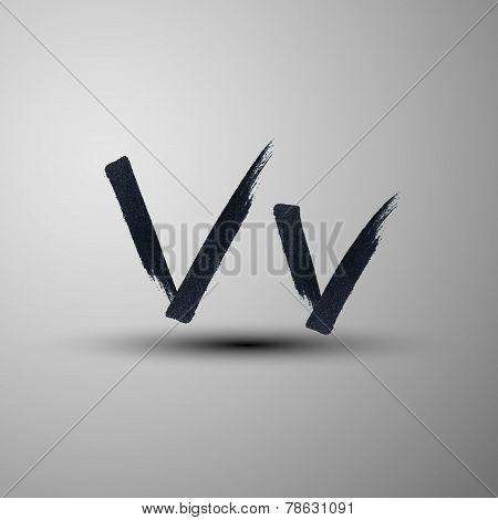 vector calligraphic hand-drawn marker or ink letter V
