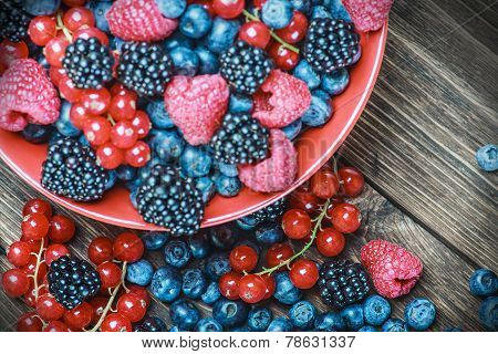 Mix Of Fresh Berries In A Plate