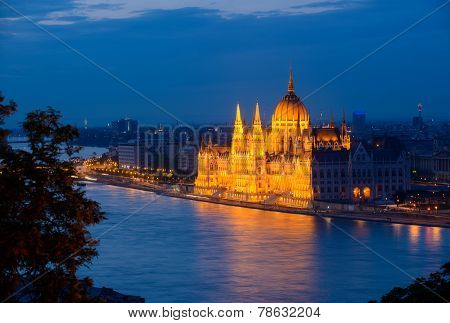 Budapest Parliament In The Evening