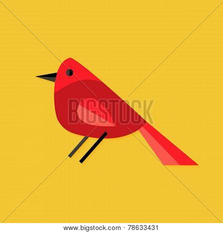 Bullfinch Bird Christmas Flat Icon