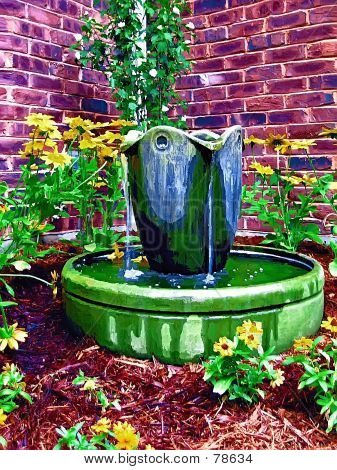 Bubbling Water Feature In The Garden