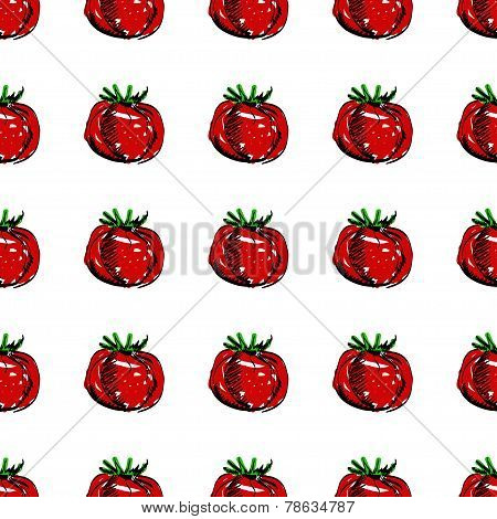 Vector seamless background with red tomatoes.