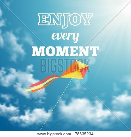 Enjoy every moment phrase on sky background