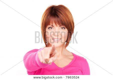 geschäftsfrau zeigt den finger