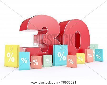 3D rendering of a 30 percent discount