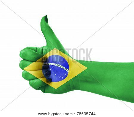 National Flag Of Brazil On Hand