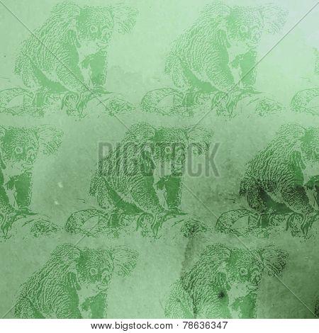 vector vintage illustration of green watercolor koala bears patt