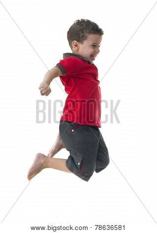 Active Joyful Boy Jumping