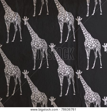 vector vintage illustration of giraffe pattern on the old black
