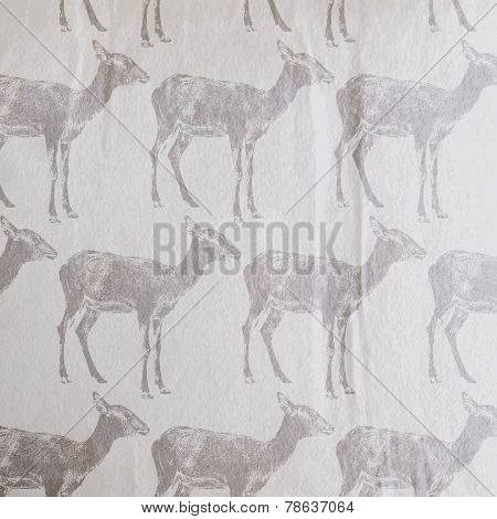 vector vintage illustration of an antelope or a goat pattern on