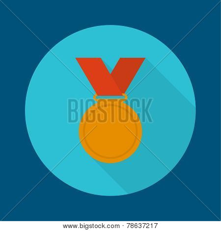 Bronze medal with red ribbon.